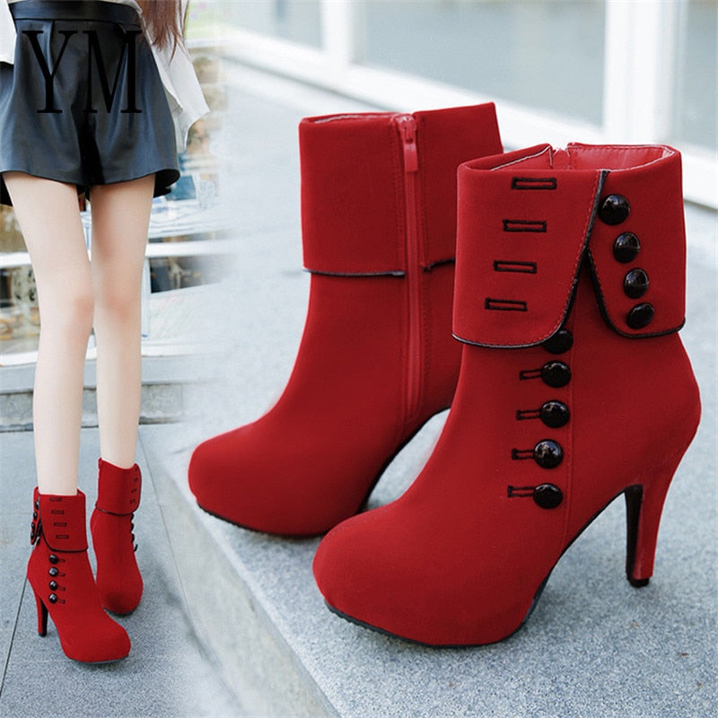 habazoo - Fashion Women Ankle Boots High Heels Fashion Red Shoes Woman Platform Flock Buckle Boots Ladies Shoes Female PLUE 42 - Habazoo -