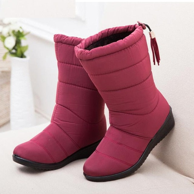 habazoo - New Women Boots Female Down Winter Boots Waterproof Warm Ankle Snow Boots Ladies Shoes Woman Warm Fur  Casual Booties - Habazoo -