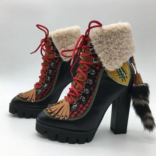 habazoo - Women Motorcycle Boots platform High Heels  fringe cross tied woolen Snow Boots Ankle Boots for women - Habazoo -