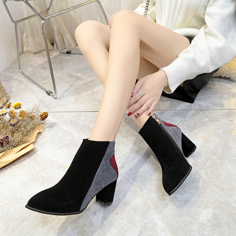 habazoo - Fashion Ankle Boots Women Winter Boots Women Casual Shoes Comfortable Flock Boots Zipper High Heels Boots Shoes Women Pumps - Habazoo -