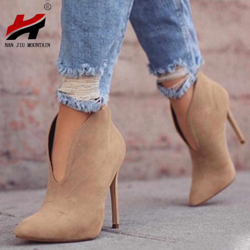habazoo - New Fashion Sexy Suede High-heeled Ankle Women's boots Plus Size 34-43 - Habazoo -