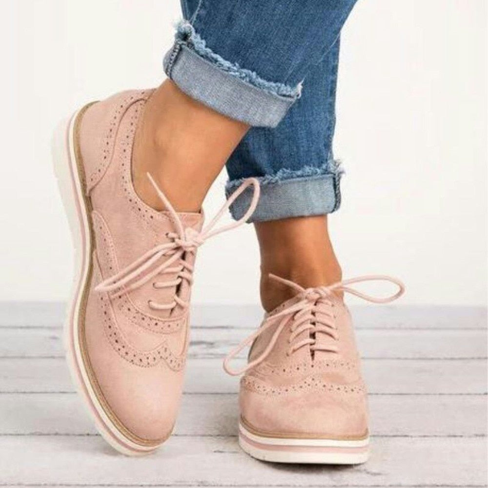 habazoo - Rubber Brogue Shoes Woman Platform Oxfords British Style Creepers Cut-Outs Flat Casual Women Shoes Lace Up Footwear 5 Colors - Habazoo -