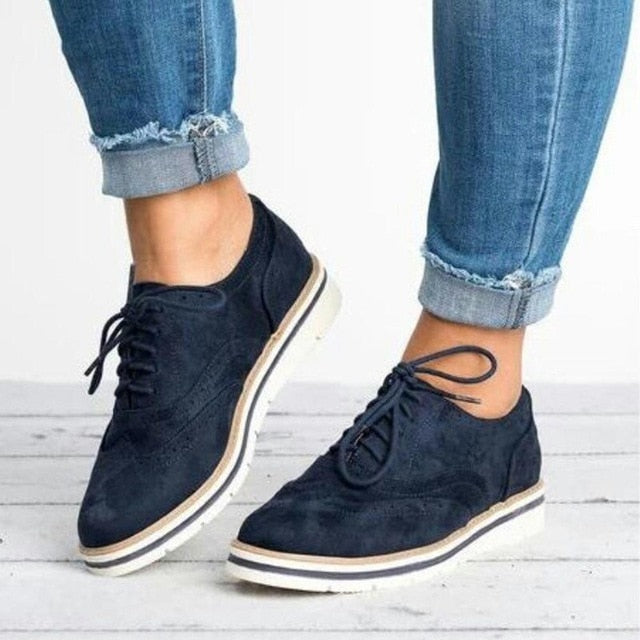 Rubber Brogue Shoes Woman Platform Oxfords British Style Creepers Cut-Outs Flat Casual Women Shoes Lace Up Footwear 5 Colors - Habazoo