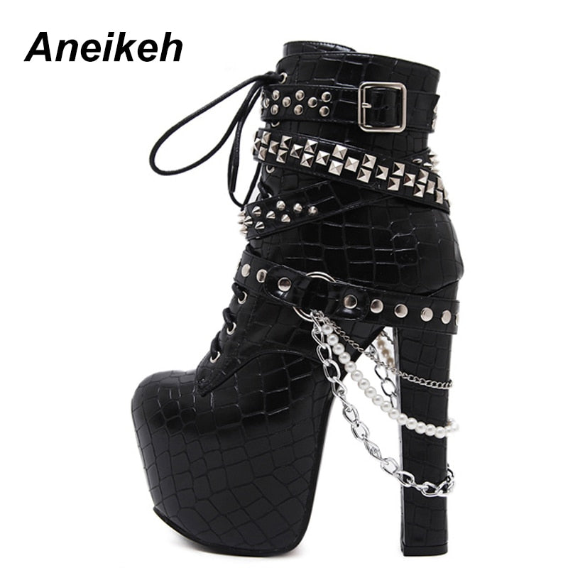 habazoo - Zip Metal Chains Rivet Motorcycle Boots Women Shoes Super High Heels Platform Ankle Boots Punk Rock Gothic Biker Boots - Habazoo -