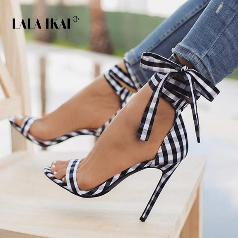 habazoo - High Sandals Women Cross-Tied Heels Ladies Ankle Strap Lace Up Party Bow High Shoes - Habazoo -