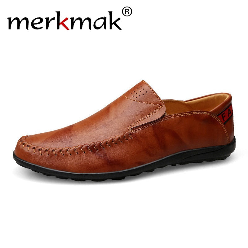 habazoo - Leather Men Loafers Comfortable Casual Shoes Men Driving Shoes Trample Heel - Habazoo -