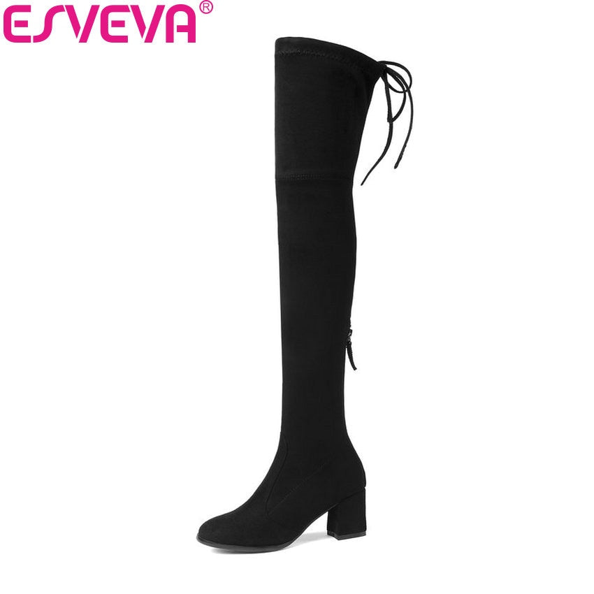 habazoo - Women Boots shoes Zipper Sexy winter Boots Over The Knee Boots Shoes High Heels Square Toe Ladies Boots Size 34-43 - Habazoo -