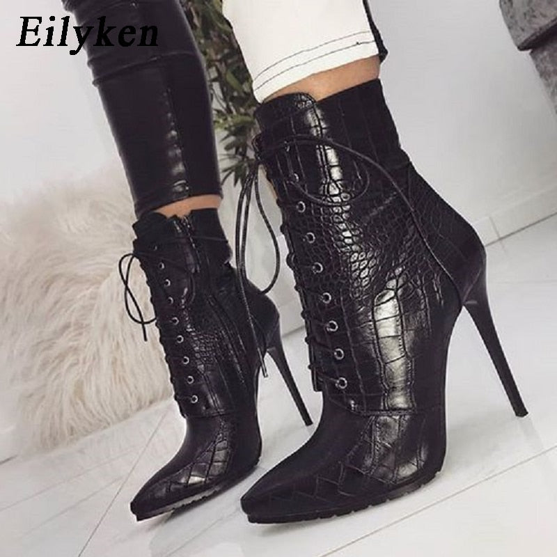 habazoo - Black Snakeskin grain Ankle Boots For Women High heels Pointed toe Ladies Boots New Sexy Lace-Up Boots Size 35-42 - Habazoo -