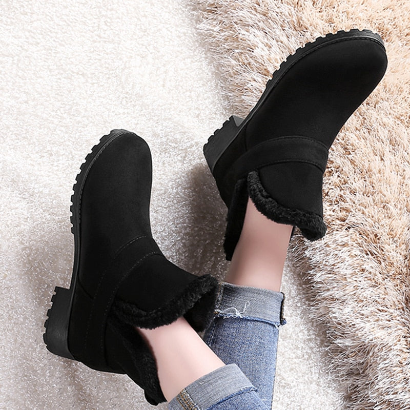 habazoo - slip on comfortable women shoes woman winter warm plush woman snow boots warm fur ankle boots women - Habazoo -