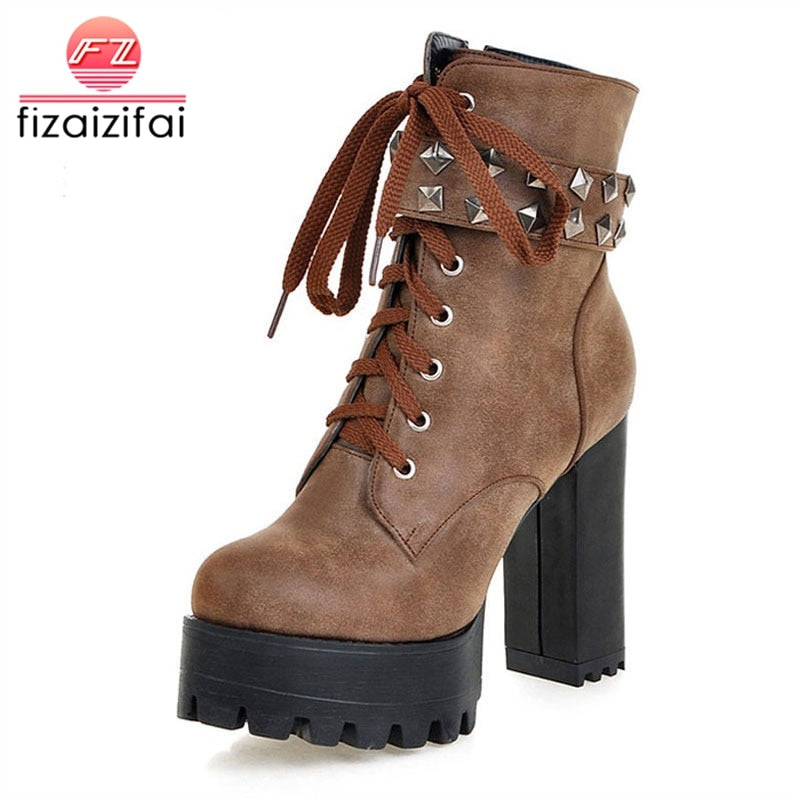 habazoo - Size 33-48 Women Square High Heel Boots Ladies Rivets Zip Warm Ankle Boots Women'S Shoes Cross Strap Footwear - Habazoo -