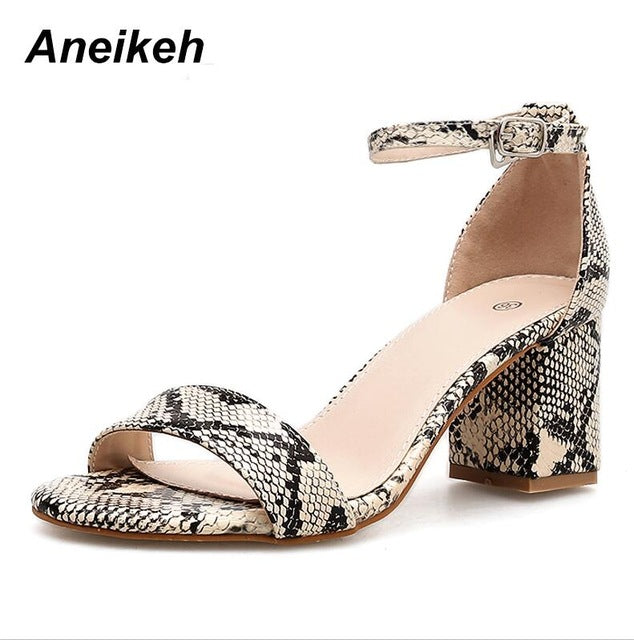 habazoo - Leopard Print Women High Heels Summer Ankle Strap Square Heel Fashion Sandals Pumps - Habazoo -
