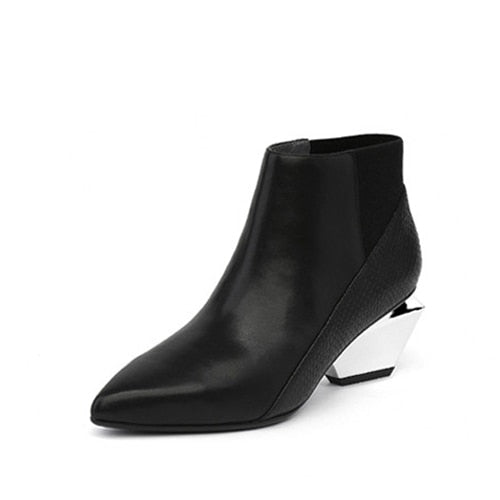habazoo - Chelsea Boots Black Red Autumn Boots For Women Genuine Leather Pointed Toe Mixed Color Chunky Heel Ankle Boots - Habazoo -