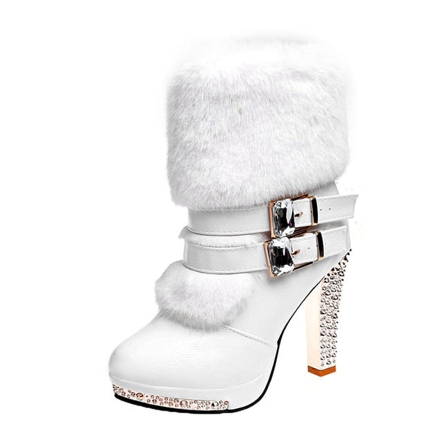 habazoo - Smile Women High end Boots Super High Fashion Warm Double Buckle Faux Fur Crystal Casual Shoes Thin Heels Ladies Boots - Habazoo -