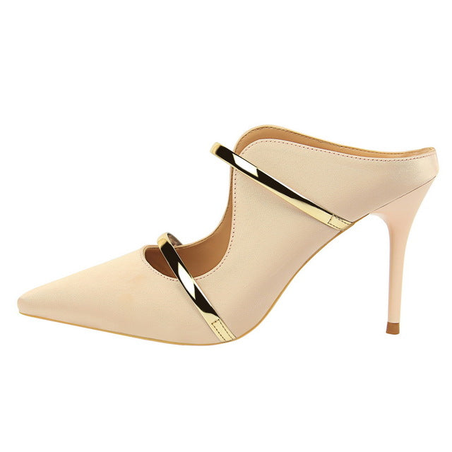 habazoo - Women Pumps Sexy Women High Heel Sandals 2018 Pointed Shallow Ladies High-heeled Slippers Fashion Silk Wedding Party Shoe - Habazoo -