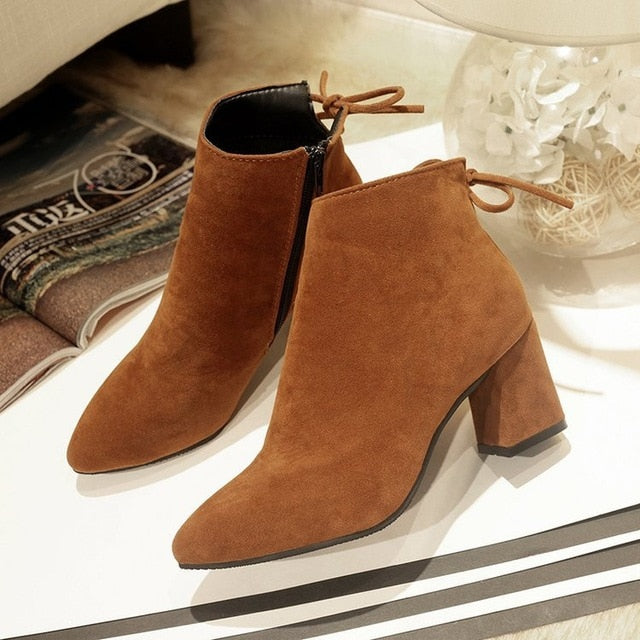 habazoo - new Women Boots High Heels Ankle Boots Fashion 2018 Autumn Chunky Heel Ladies Short Boots Shoes red Shoes Size 35-40 - Habazoo -