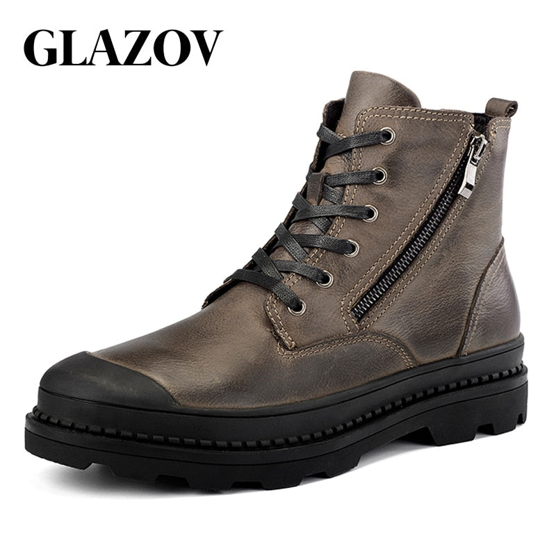 habazoo - leather  Men Boots Winter Waterproof Ankle Boots - Habazoo -