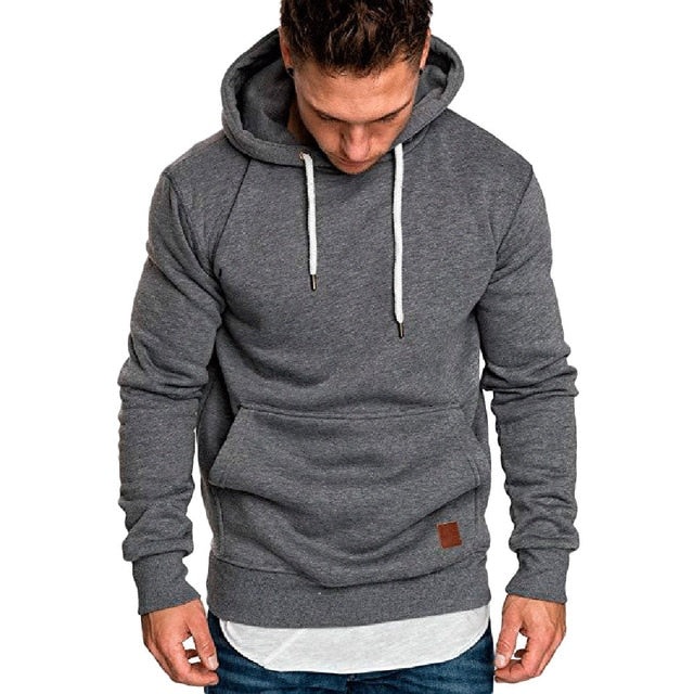NEW male long sleeve solid hoodie men black red big size - Habazoo