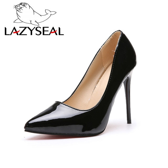 habazoo - Lazy Seal Women Pumps High Heels Shoes Woman Stiletto Pointed Toe Female Sexy Party Shoes Office Lady Wedding Party Plus Size - Habazoo -