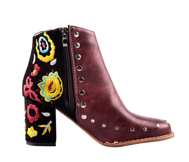 habazoo - Embroider High Ankle Shoes Boots Wine Red Flock PU Leather Plus Size Zipper Rivet Flower Shoes - Habazoo -