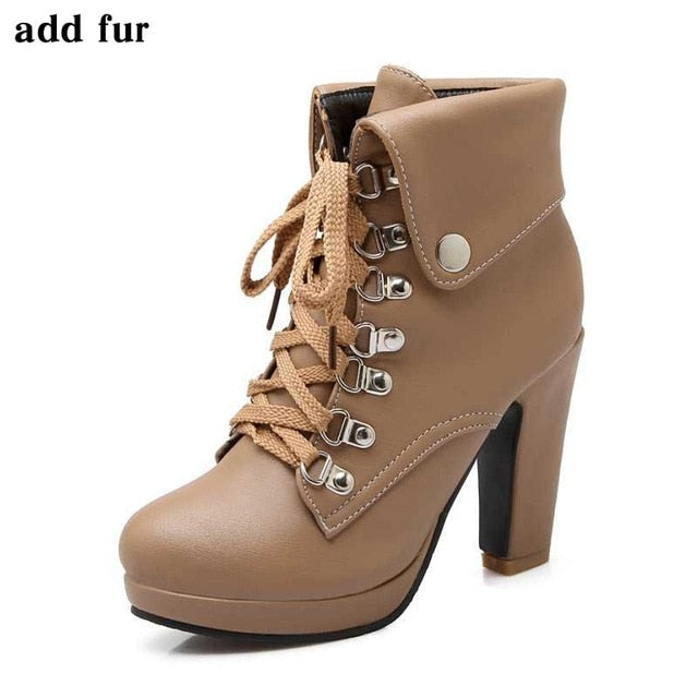 habazoo - women platform high ankle boots lace-up add fur boots high heels shoes woman - Habazoo -