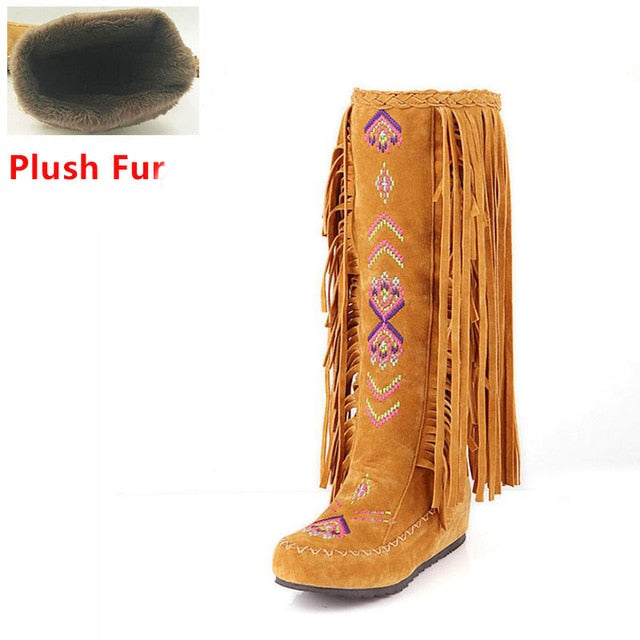 habazoo - Leather Women Fringe Flat Heels Long Boots Woman Tassel Knee High Boots - Habazoo -