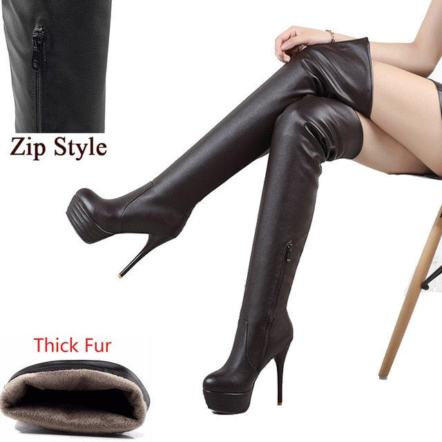 habazoo - Fashion Over Knee Thigh High Boots Women Winter Spring Sexy Thin High Heels Platform Shoes - Habazoo -