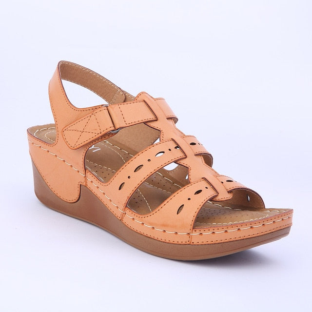 habazoo - Wedges Shoes Women Sandals Platform Casual Soft Sole Camel Color Lightweight Comfortable Gladiator  Plus Size - Habazoo -