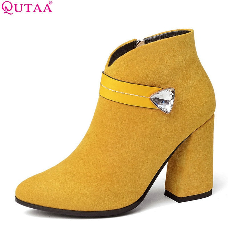 habazoo - Women Ankle Boots Fashion Women Shoes Platform Zipper Flock Elegant Pointed Toe Hoof Heels Women Boots Size 34-43 - Habazoo -
