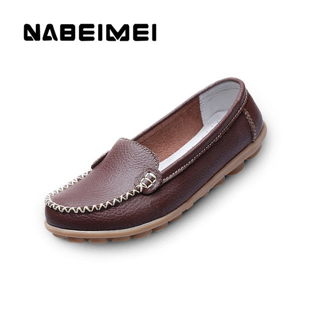 habazoo - Genuine Leather Shoes Woman Soft Boat shoes for Women Flats shoes  Ladies Loafers Non-Slip Sturdy Sole - Habazoo -