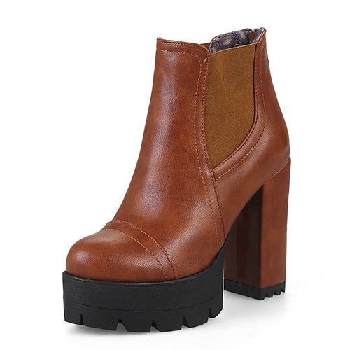habazoo - Brown Women Short Boots Plus Size 43 Female Casual Shoes Autumn High Heels Ankle Boots Platform Heels - Habazoo -