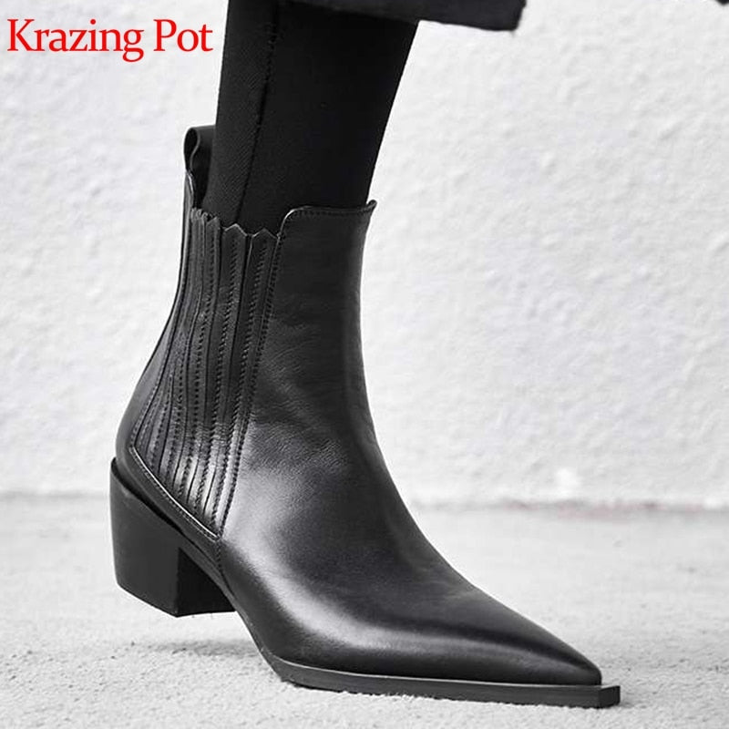 habazoo - full grain leather Chelsea boots thick med heel brand women high quality concise design office lady ankle boots - Habazoo -