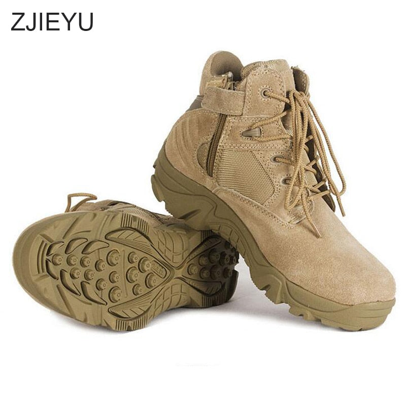 Military Boots combat Vintage Lace Up Men Tactical Solid Durable Short Boots - Habazoo