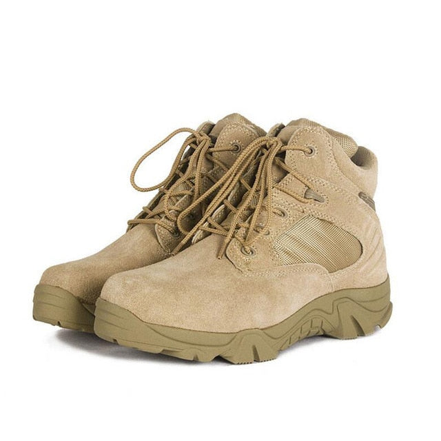 habazoo - Military Boots combat Vintage Lace Up Men Tactical  Solid Durable Short Boots - Habazoo -
