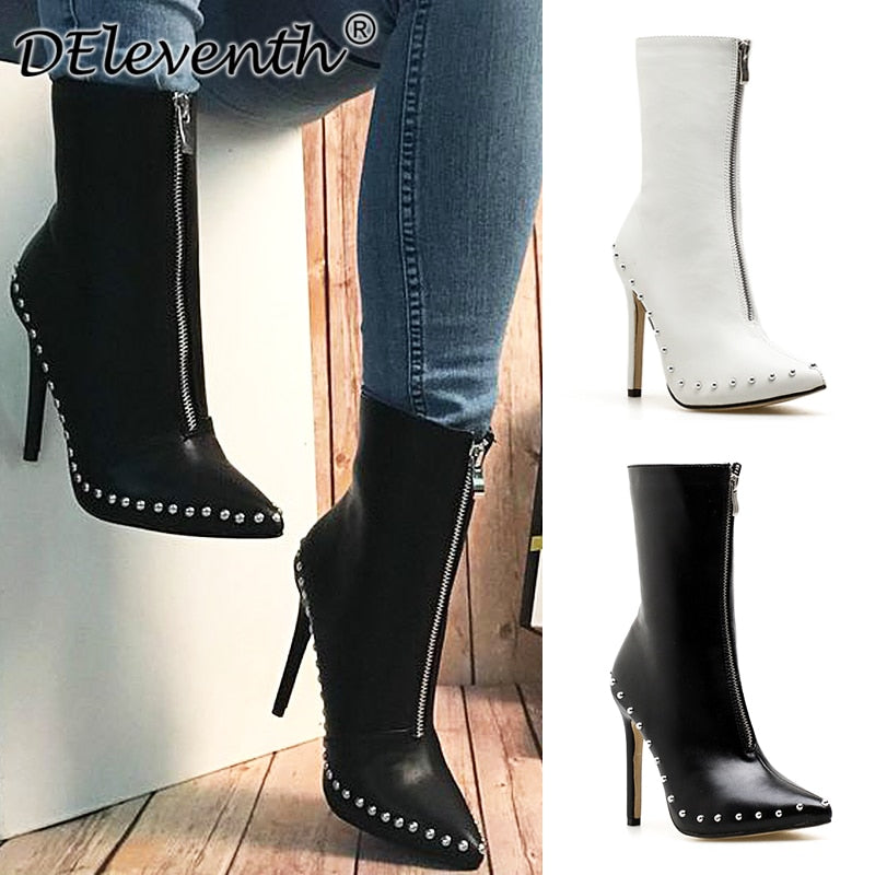 habazoo - Leather Rivets Boots Women's Fashion Zipper Ankle Boots For Women Ladies Boots  Thin high heels Shoes woman - Habazoo -