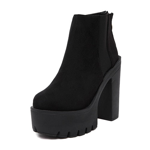 habazoo - Fashion Black Ankle Boots For Women Thick Heels Platform Shoes High Heels Black Zipper Ladies Boots - Habazoo -