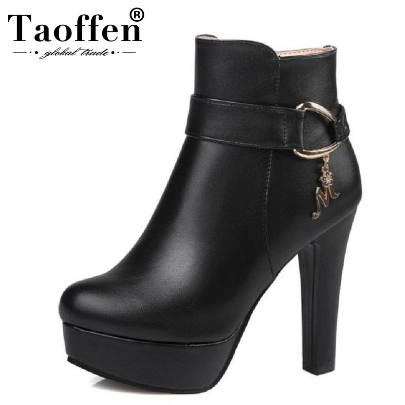 habazoo - Platform Ankle Boots Women High Heel Shoes Warm Zip  Heeled Footwear Size 32-43 - Habazoo -