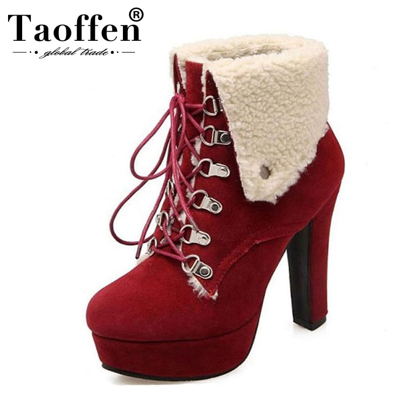 habazoo - Women Platform Thick Heel Ankle Boots Woman Round Toe Lace Up Heels Shoes Woman Warm Fur Botas Feminina Size 34-43 - Habazoo -