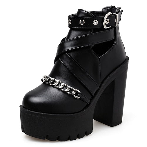 habazoo - Chain Women Shoes Zipper Square High Heel Ankle Boots For Women Punk Shoes Platform Spring Autumn - Habazoo -