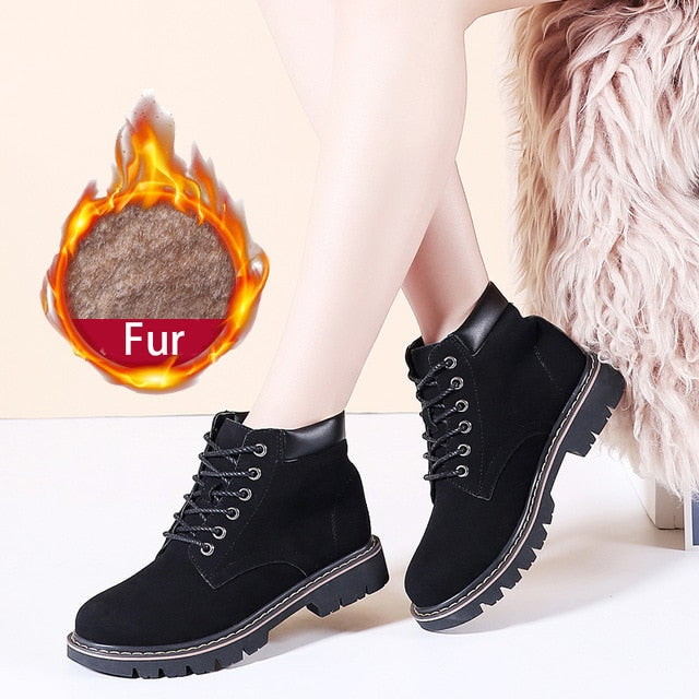 6 Color Genuine Leather Women Boots Fashion Winter Lace Up Classic Shoe High Style Flats Casual Shoes Boots Waterproof
