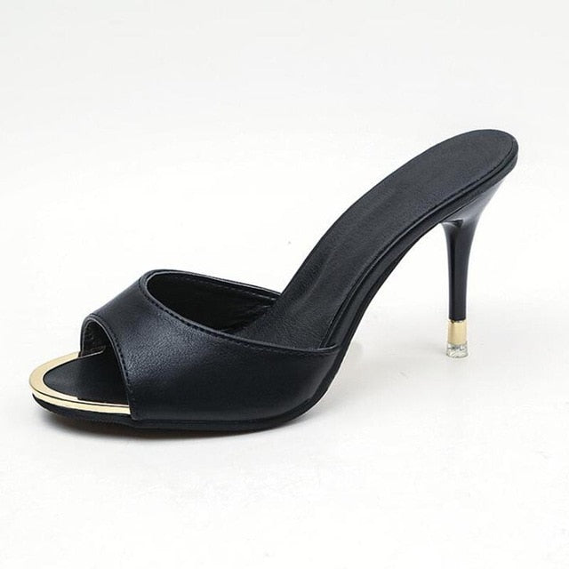 habazoo - Women high heels thin heel shoes sexy black slippers women comfortable women sandals - Habazoo -
