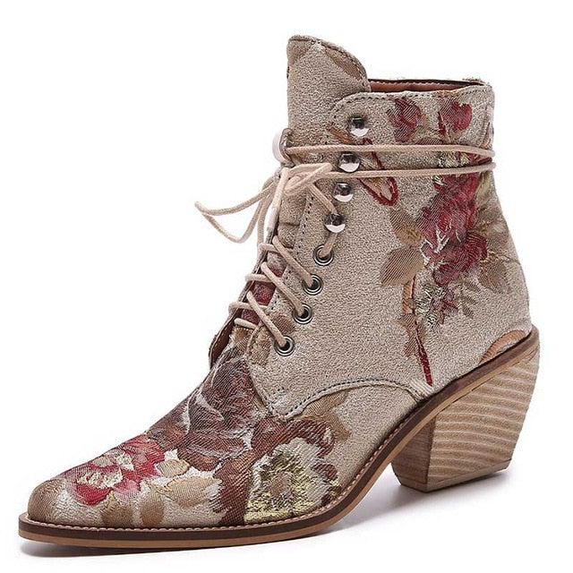 habazoo - Women Casual Stacked High Heels Embroidery Flower Lace Up Ankle Boots Shoes Female Ladies Ankle Booties Silk Satin Footwear Boot - Habazoo -