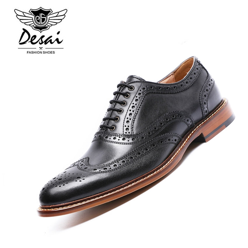 habazoo - Leather Men Carving Oxford Shoes Vintage Design Men Brogue Business Shoes Size 38-43 - Habazoo -