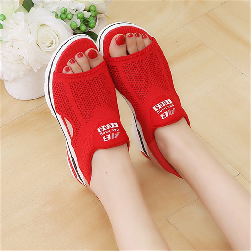 habazoo - Breathable comfort shopping ladies walking shoes red black women sandals for summer new platform sandal - Habazoo -