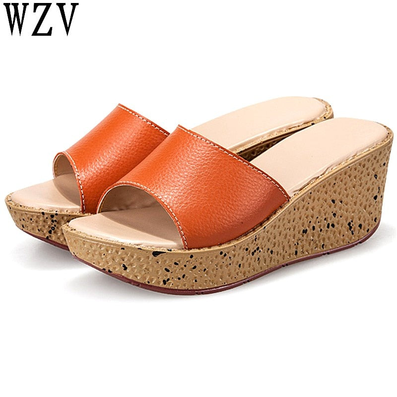 habazoo - women slippers Genuine leather Open Toe Thick Soled Female Outside Women Wedges Slippers 7 colors sandals - Habazoo -