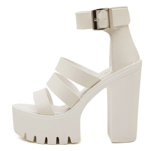 habazoo - Women White Open Toe Button Belt Thick Heel Wedges Platform Shoes Fashionable Casual Sandals - Habazoo -