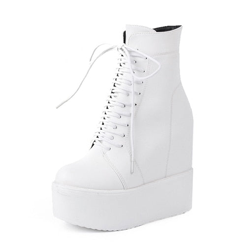 habazoo - Wedges Ankle Boots White Black Rubber Sole Shoes Platform Boots Women Lacing Autumn Platform Heels Shoes Heel 13 cm - Habazoo -