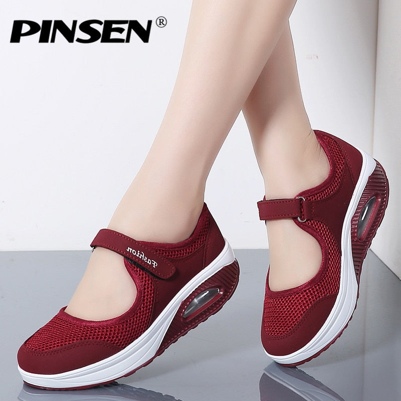PINSEN 2019 Summer Fashion Women Flat Platform Shoes Woman Breathable Mesh Casual Shoes Moccasin Zapatos Mujer Ladies Boat Shoes - Habazoo