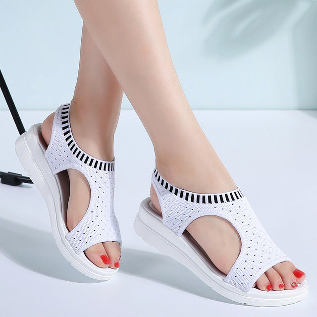 habazoo - Female Shoes Woman Summer Wedge Comfortable Sandals Ladies Slip-on Flat Sandals Women Sandalias - Habazoo -