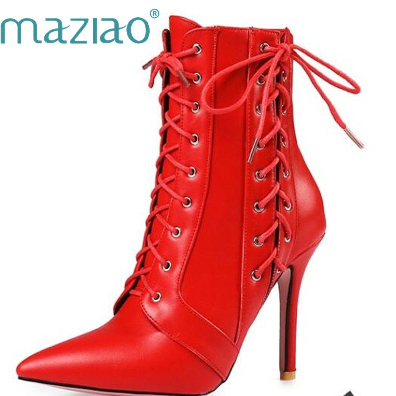 habazoo - Red Boots High Heel Boots Lace Up Mid-Calf Boots 2017 Pointed Toe Autumn Shoes White Black Big Size 34-45 - Habazoo -