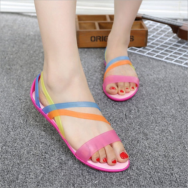 Women Summer New EVA Casual Mixed Candy Colors Soft Slip On Beach Jelly Shoes Woman Flat Sandals - Habazoo